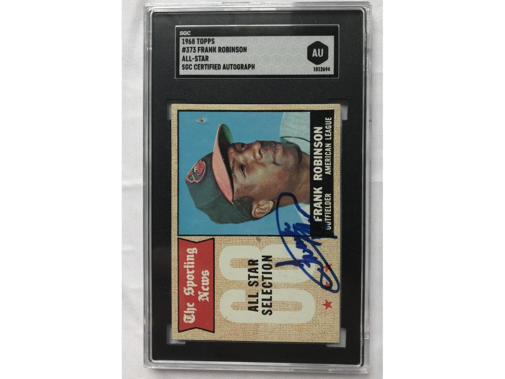 1968 Topps Frank Robinson Signed Card Sgc Coa