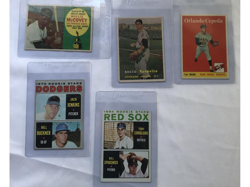 (5) Vintage Baseball Rookies: Mccovey/cepeda