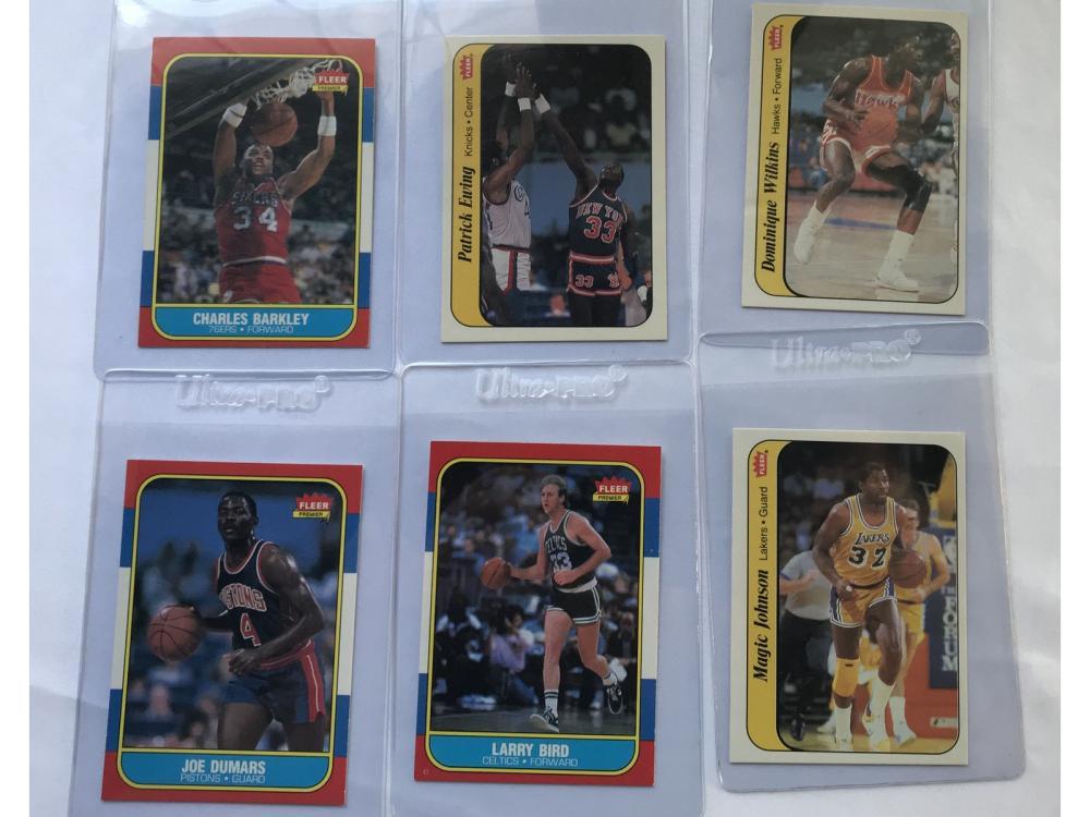 (12) 1986 Fleer Hof/rookie/sticker: Barkley/wilkis