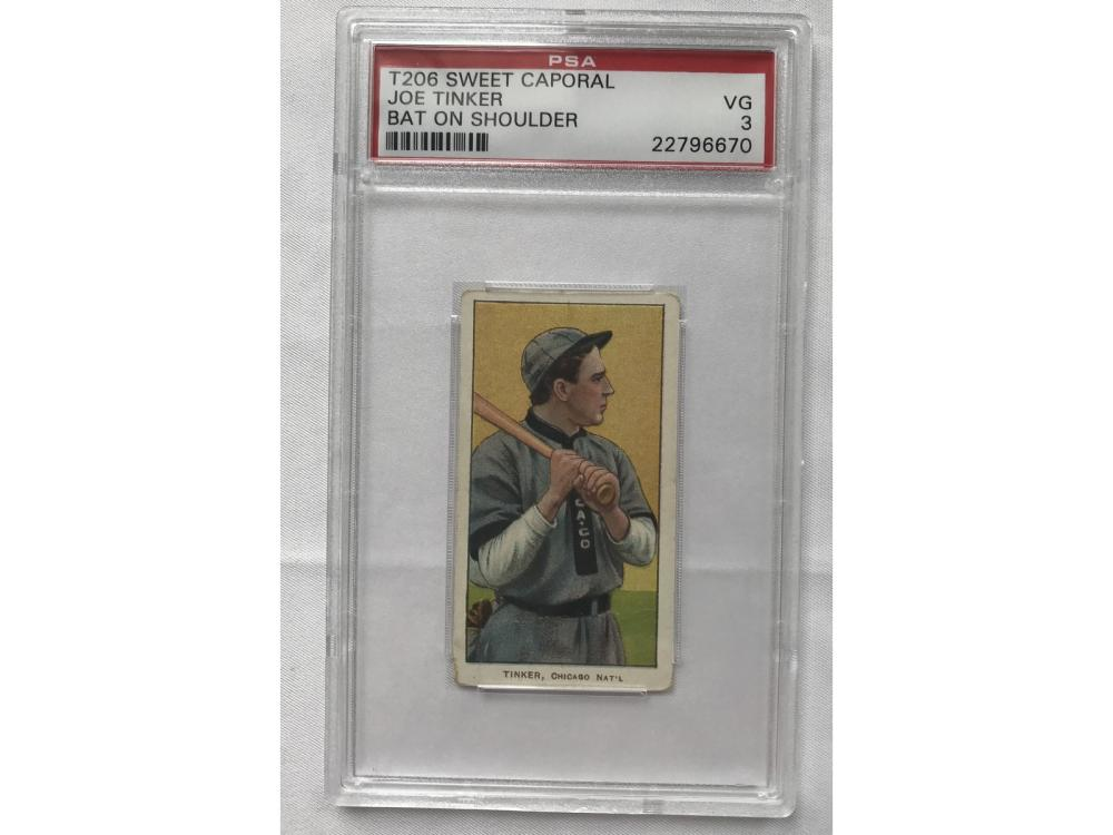 1910 T206 Joe Tinker Bat On Shoulder Psa 3