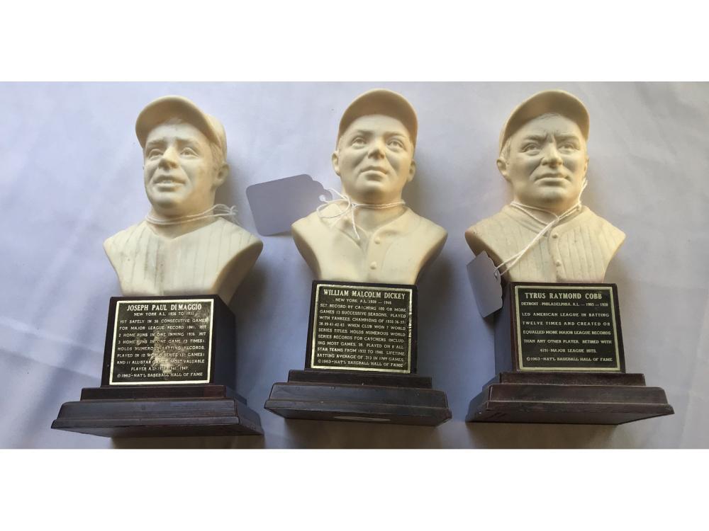 (3) 1963 Baseball Hof Busts: Cobb
