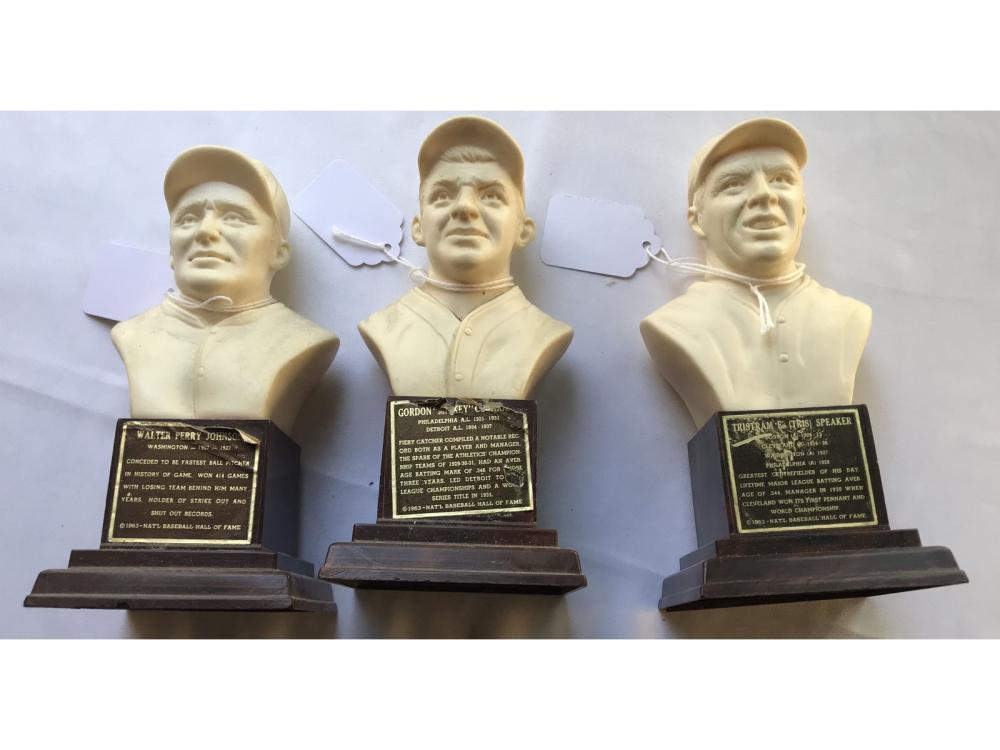 (3) 1963 Baseball Hof Busts: Speaker/johnson