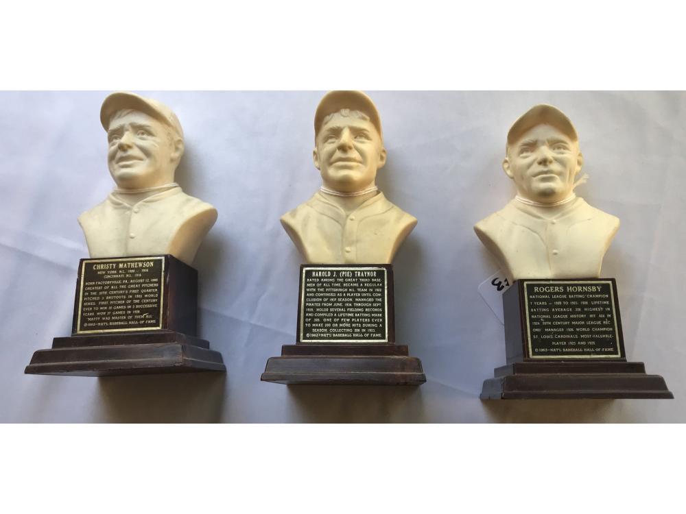 (3) 1963 Baseball Hall Of Fame Busts: Dimaggio/man
