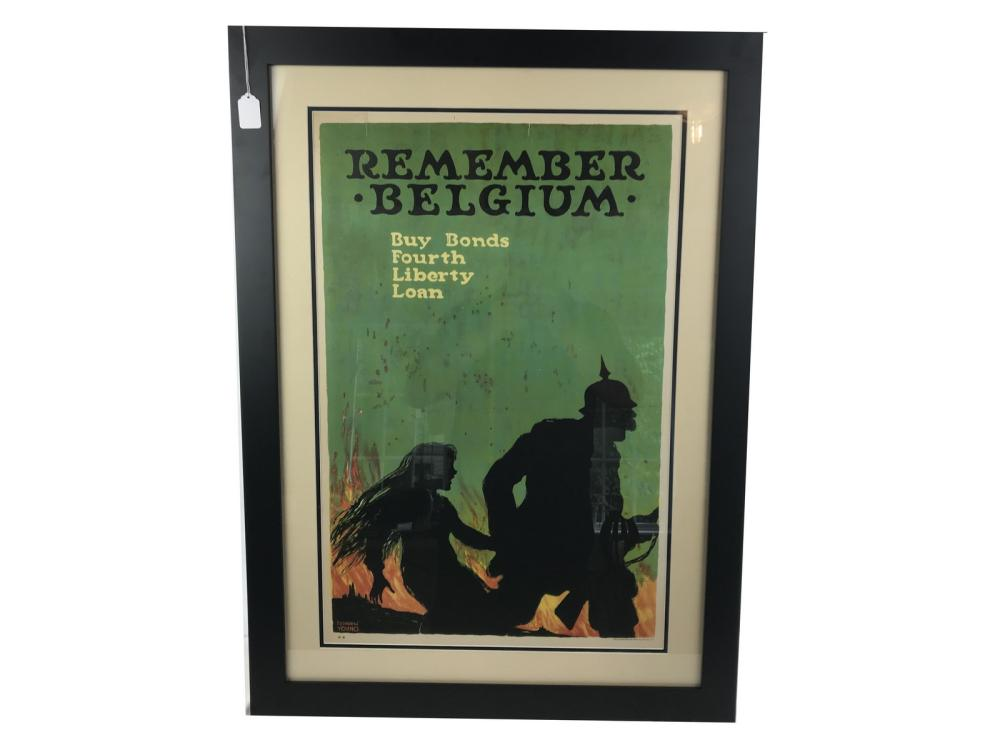 Wwi Remember Belgium Framed And Matted Poster