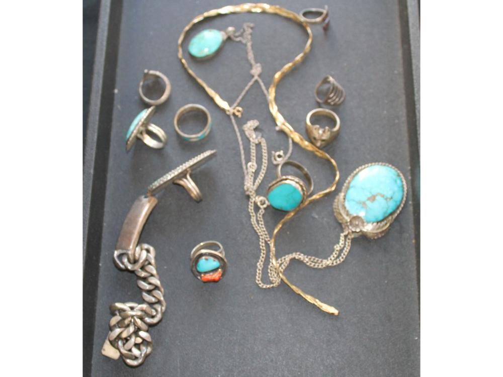 Vintage Sterling Silver Jewelry Turquoise/other