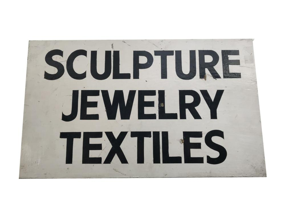 Vintage Sculpture, Jewelry Textiles Trade Sign