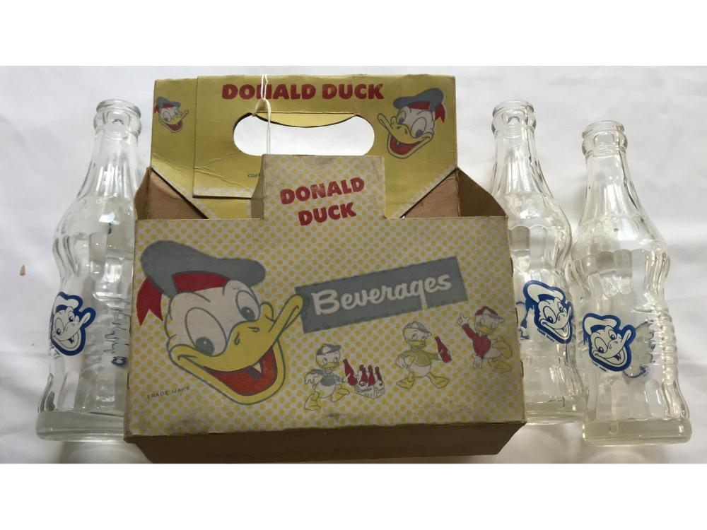 Donald Duck Cola Bottles W/ Carrier Box