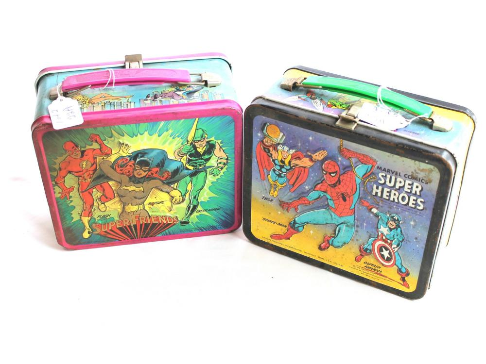 (2) Vintage Super Hero Lunch Boxes