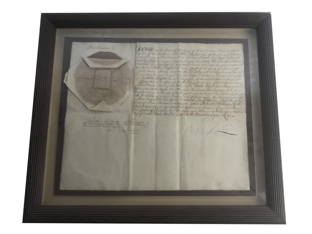 Original 1734 John Taylor Sheriff Appointment
