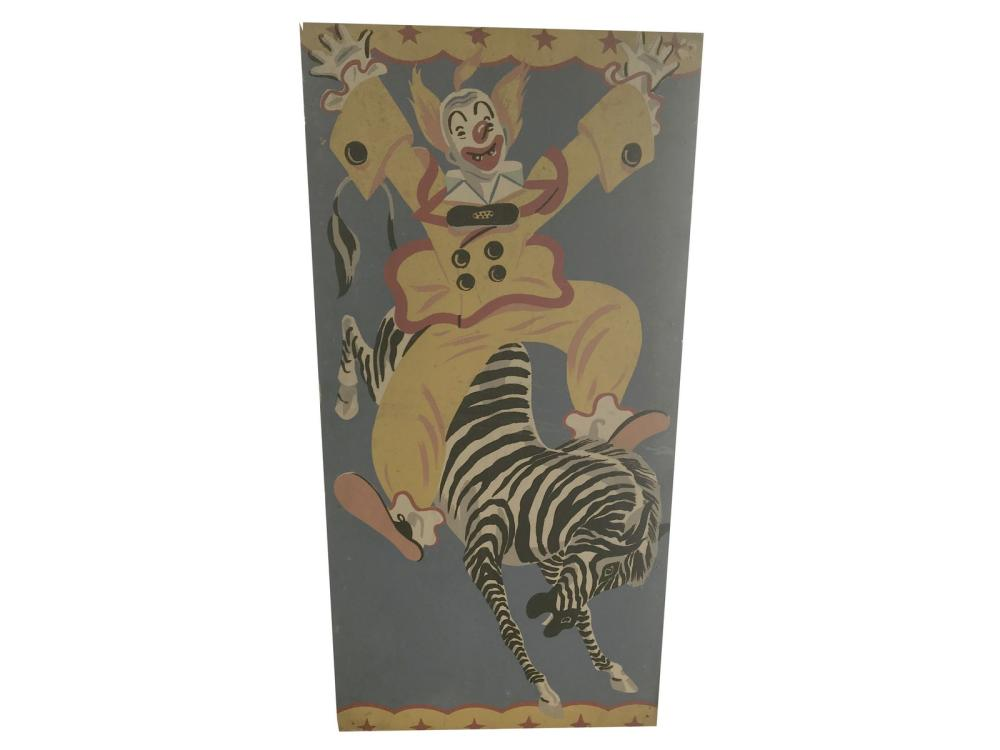 1960's Hand Painted Circus Sign/clown Sign