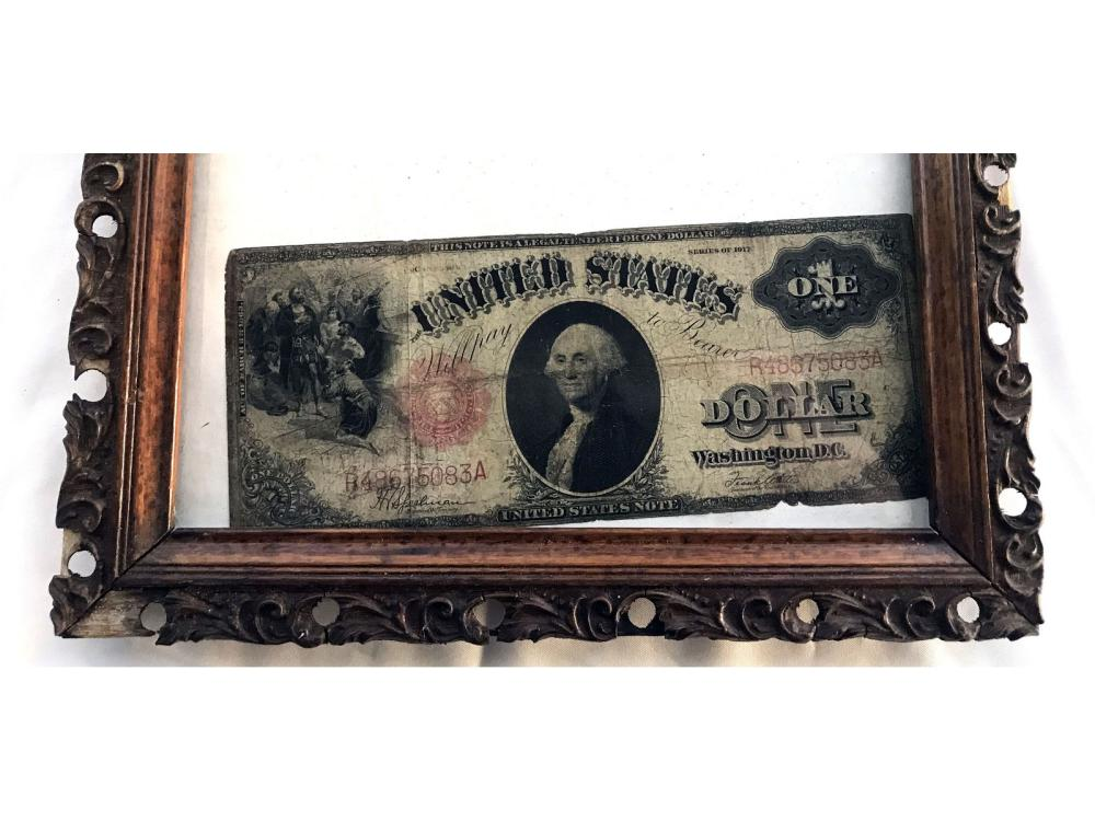 Two Pieces Of Antique Framed Us Currency