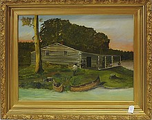 Oil On Board of Cabin Scene