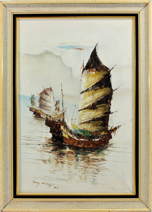 Oil On Canvas Signed By Tony Wong Hk