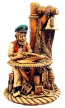 2 Vintage Nautical Fisherman Ceramic Statues