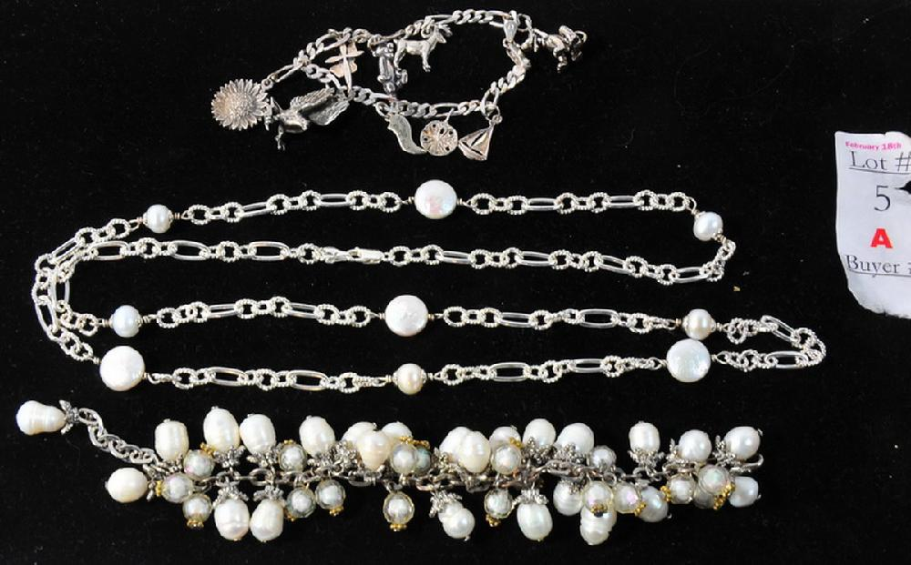Sterling silver and pearl lot with charm bracelet
