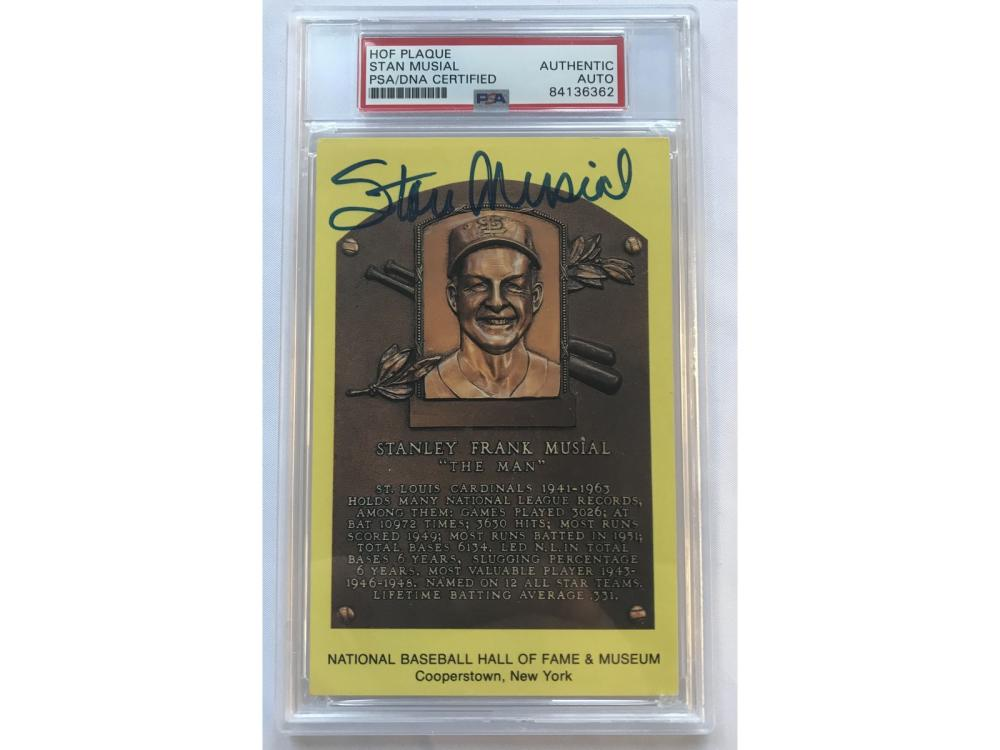 Stan Musial Hall Of Fame Signed Plaque Psa Dna