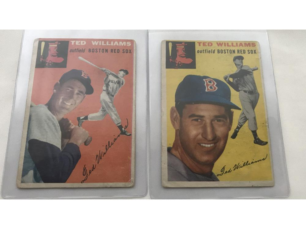 Pair Of 1954 Topps Ted Williams #1 & #250