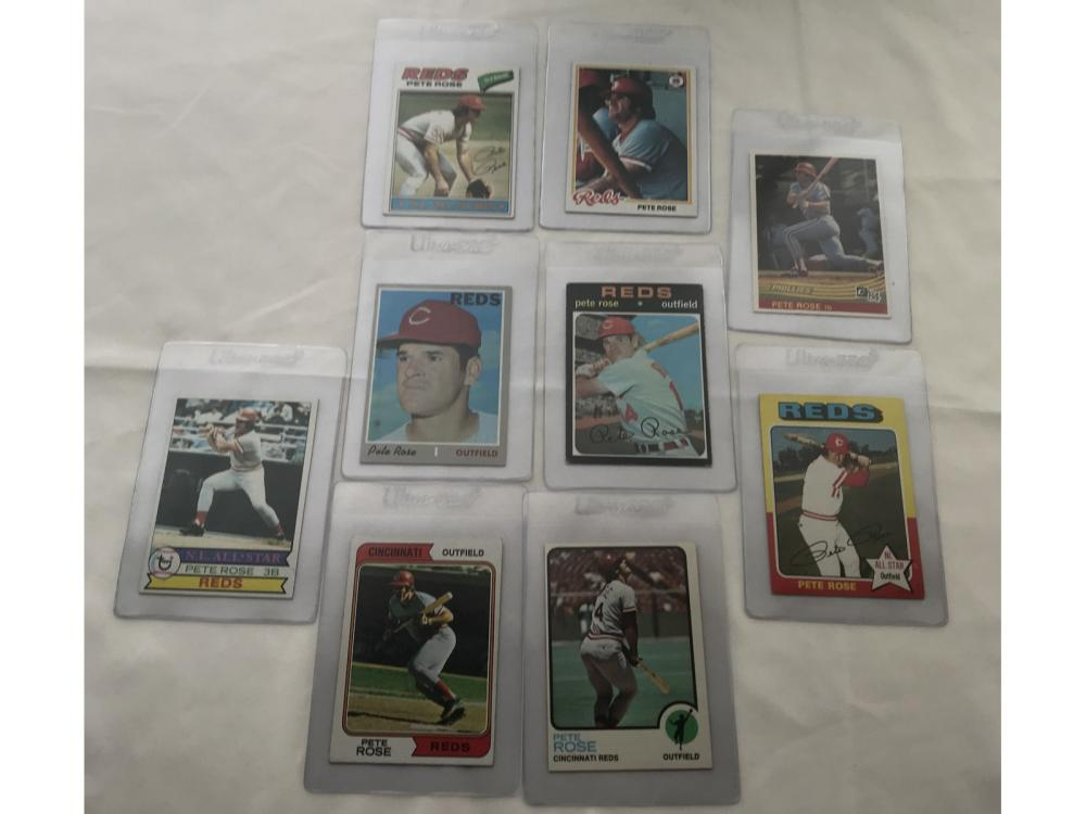 (9) Pete Rose Topps Cards