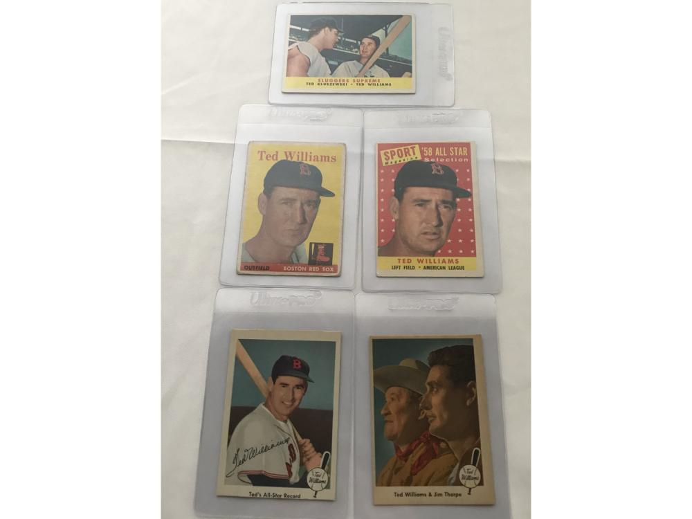 (5) 1950s Fleer/topps Ted Williams Cards