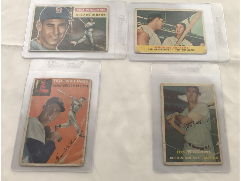 (4) Mix Grade 50s Ted Williams Topps Cards