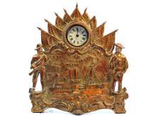 Rare Cast Bronze USS Maine Novelty Clock