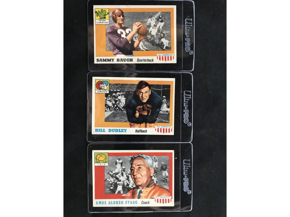 Three 1955 Topps All American Cards
