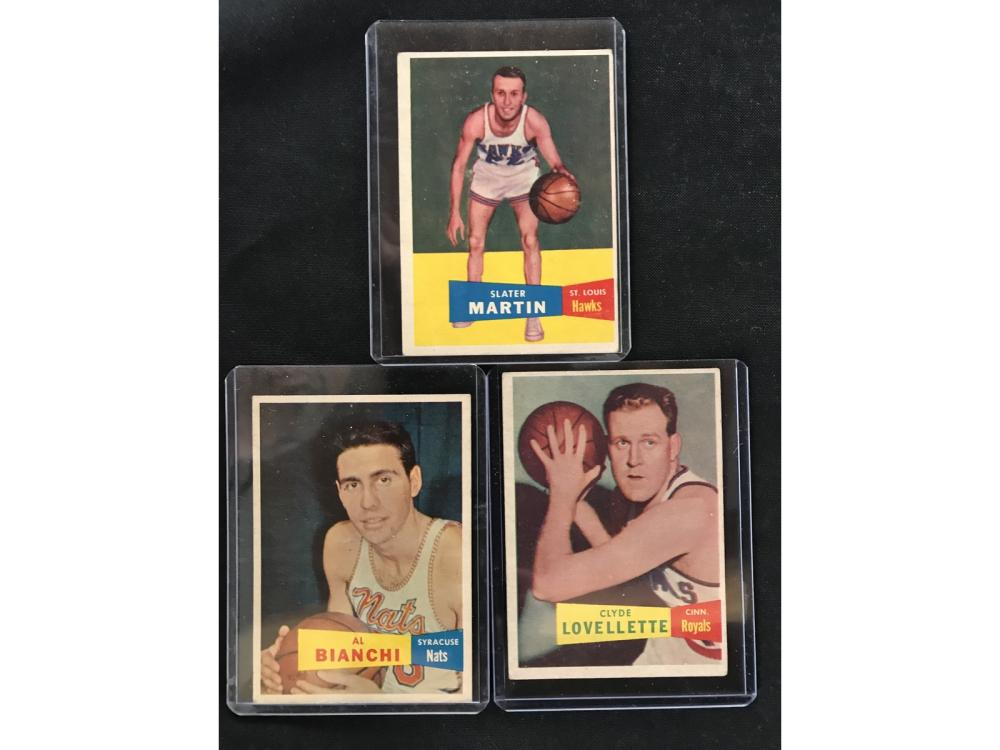 Three 1957 Topps Basketball Hof