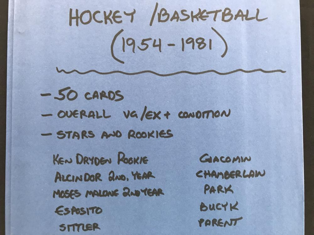 50 Hockey/basketball Cards 1954-1981