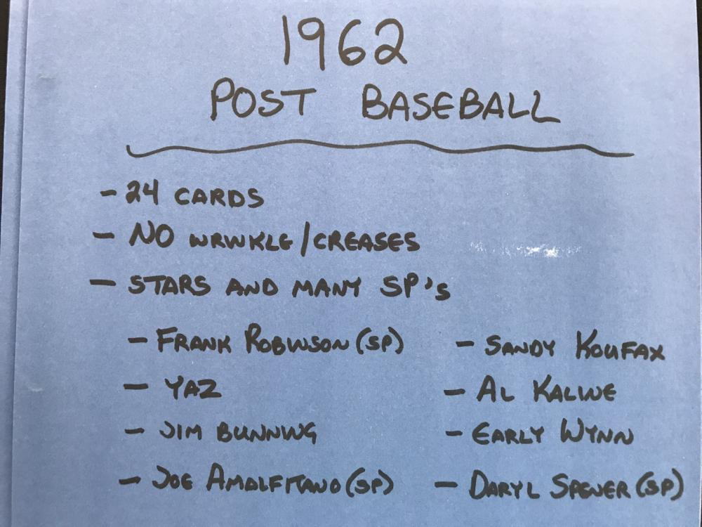24 1962 Post Baseball Cards