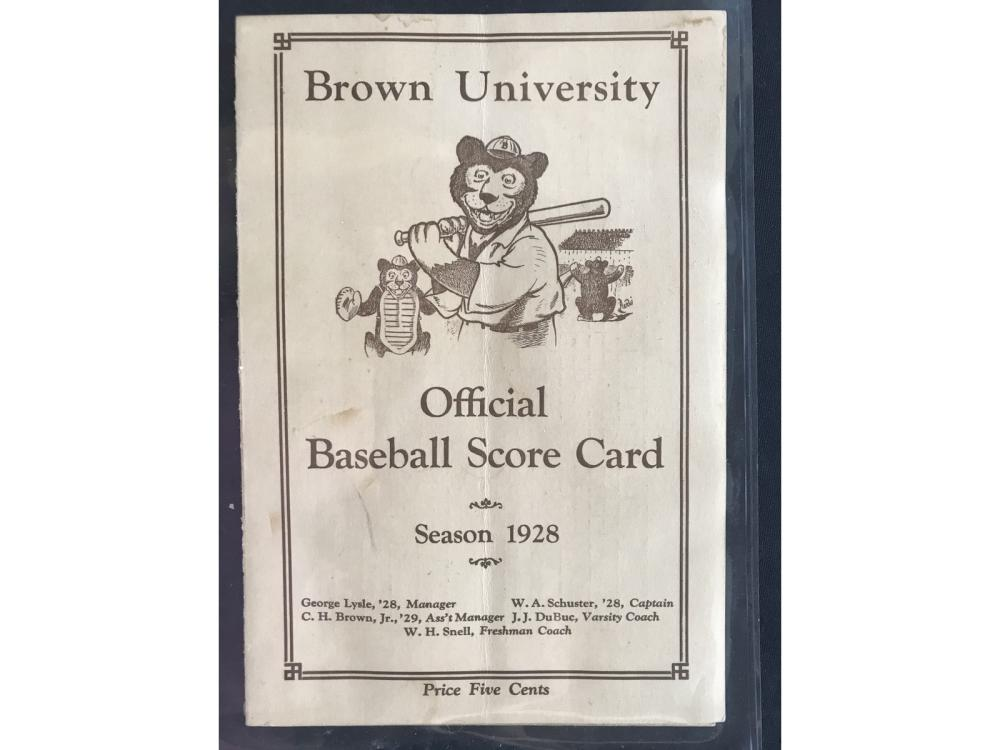 1928 Brown Vs. Providence Baseball Scorecard