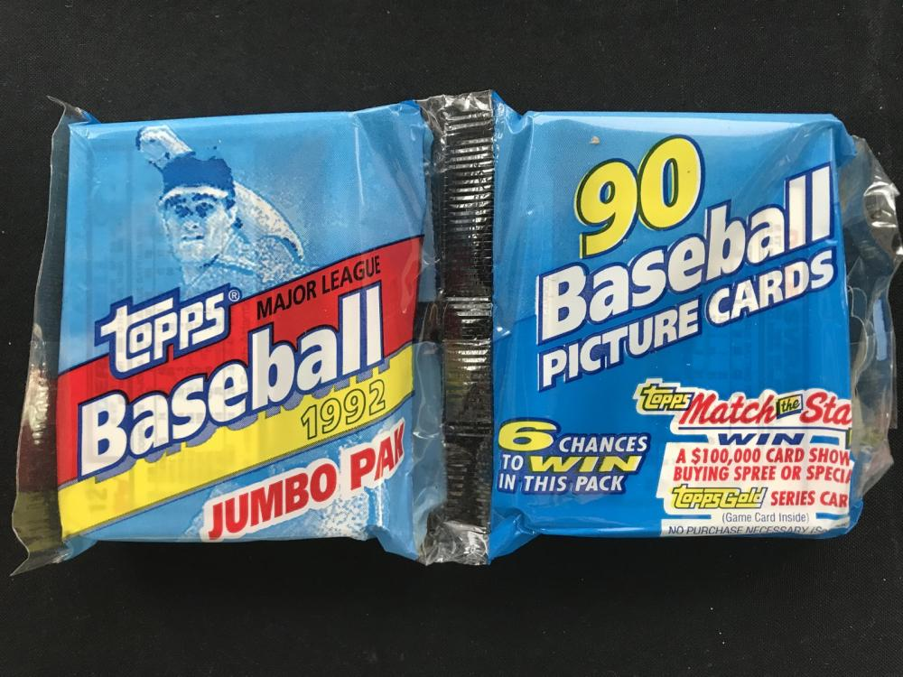 16 Unopened 1992 Topps Baseball Jumbo Packs