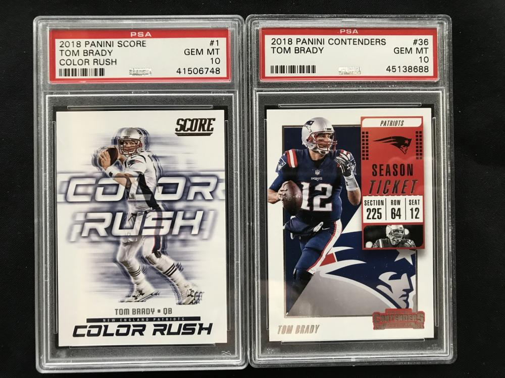 Two Tom Brady Graded Cards