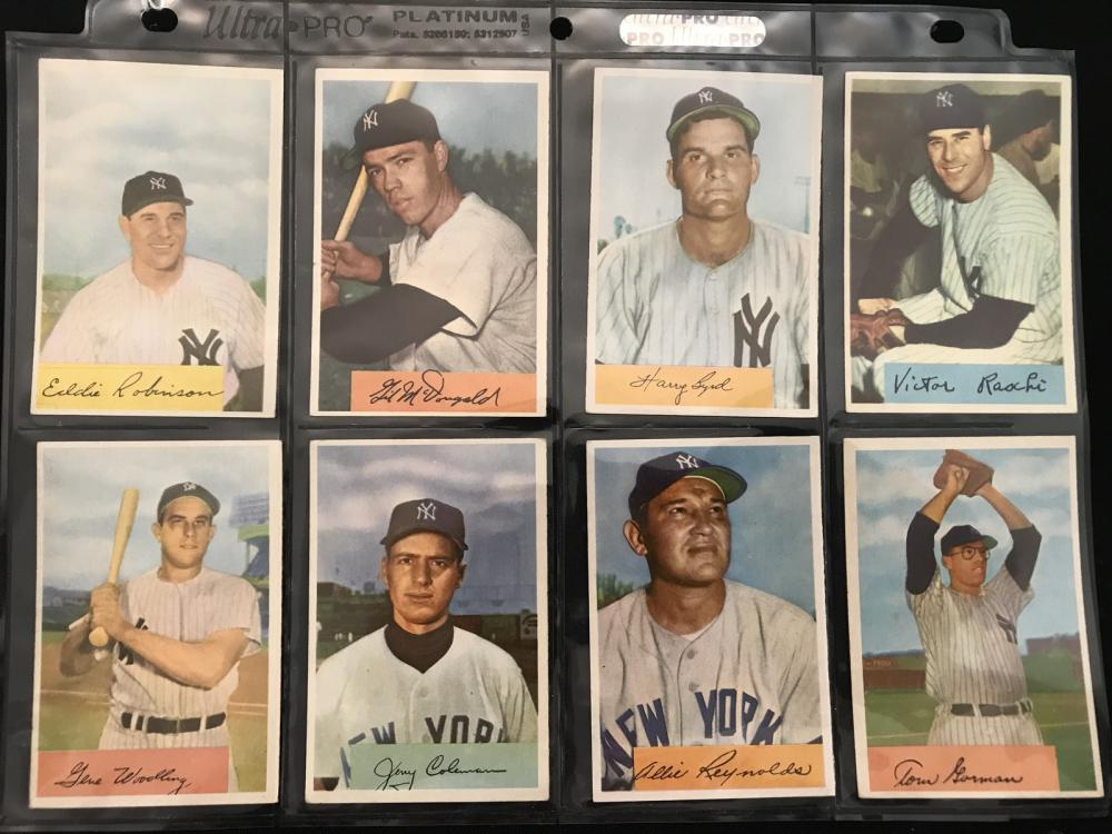8 1954 Bowman Baseball Yankees Cards