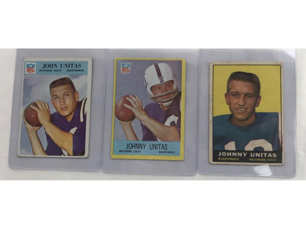Three Mixed Grade Johnny Unitas Cards