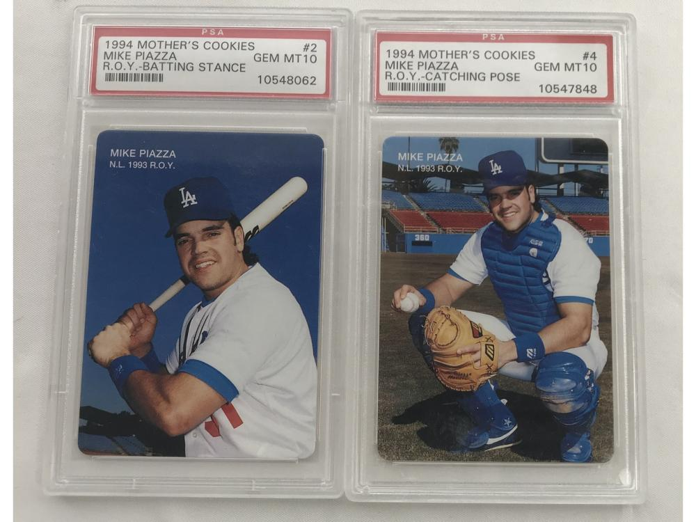 Two 1994 Mothers Cookies Mike Piazza Psa 10