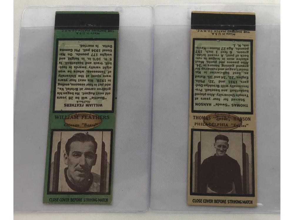 Two 1936 Football Matchbooks