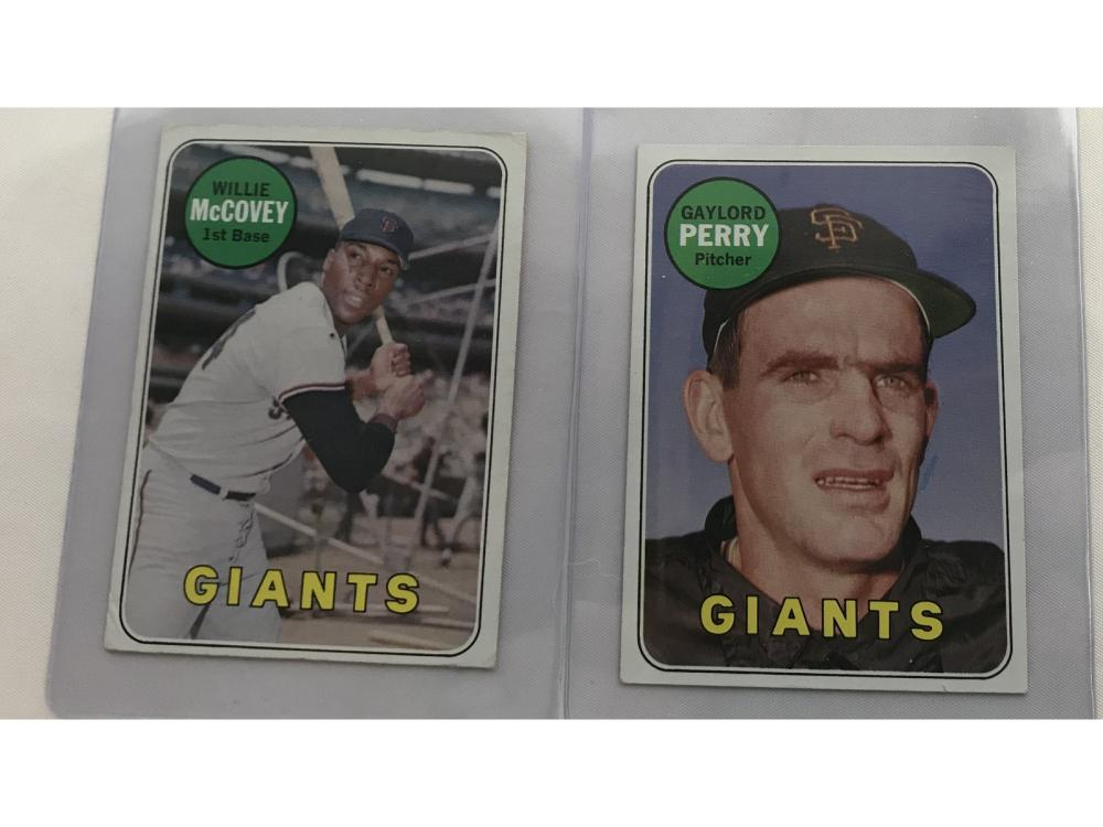Two 1969 Topps White Letters Perry/mccovey