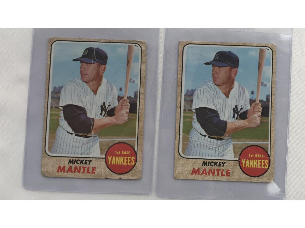 Two 1968 Topps Mickey Mantle Cards