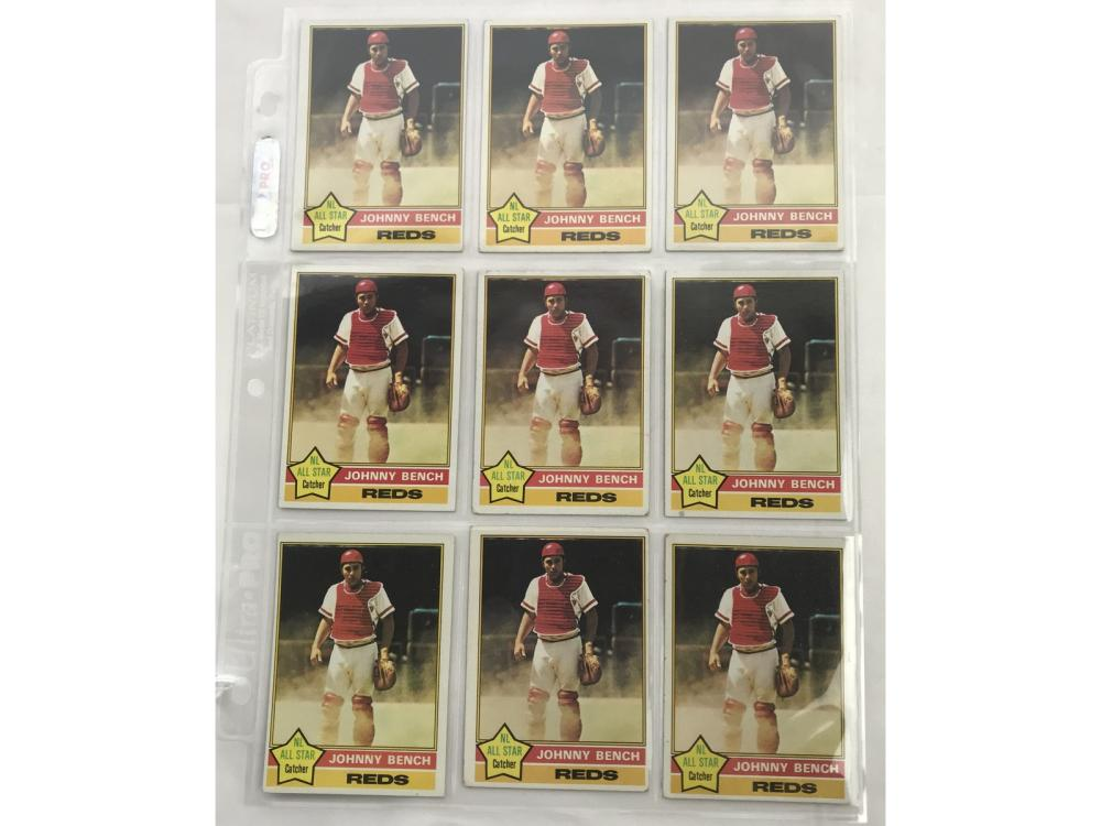 9 1976 Topps Johnny Bench Cards