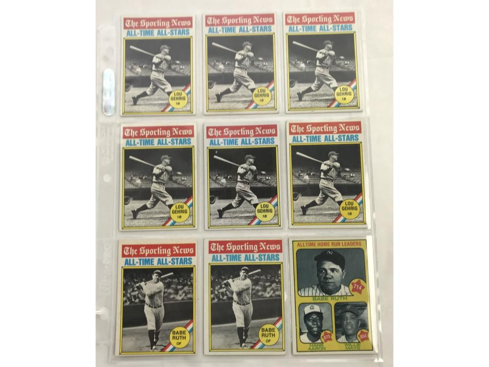 9 Vintage Babe Ruth/lou Gehrig Cards