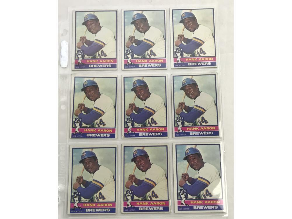 9 1976 Topps Hank Aaron Cards