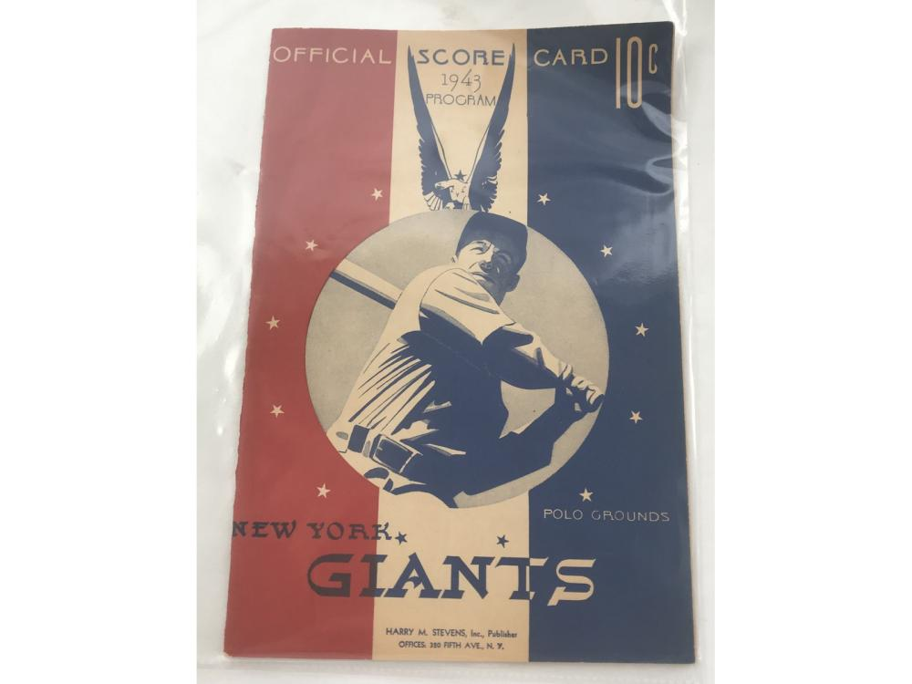 1943 Giants Vs. Reds Program Mel Ott