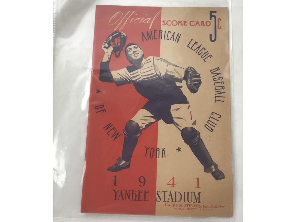 1941 Yankees Vs. Indians Program
