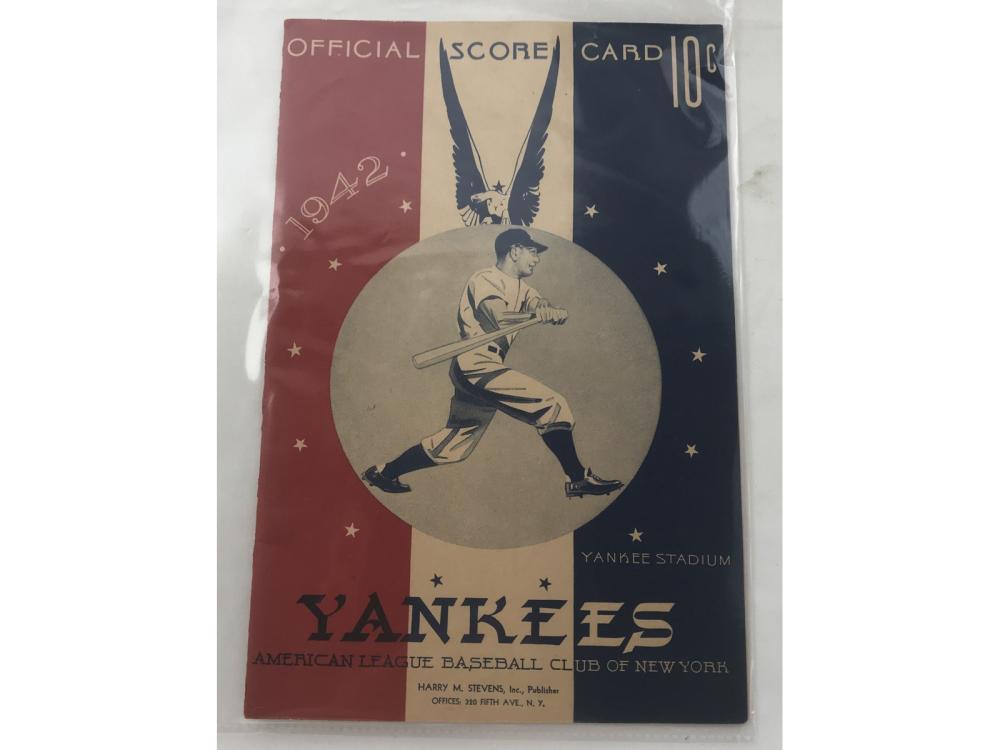 1942 Red Sox Vs. Yankees Scorecard