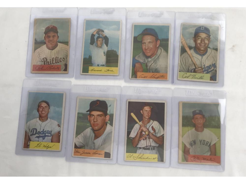 8 1954 Bowman Baseball Cards Hof