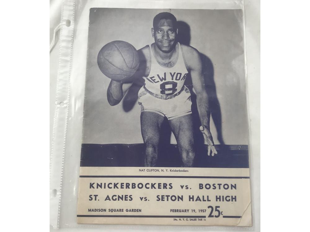1957 Nba Program Boston Vs. Ny