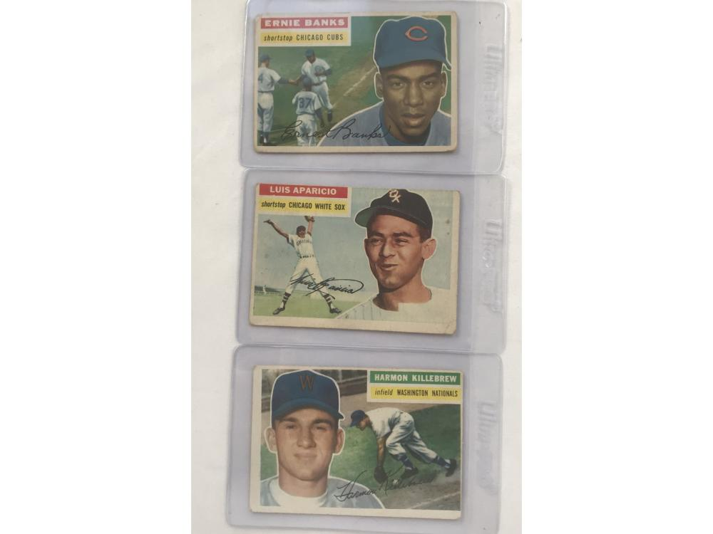 Three 1956 Topps Cards