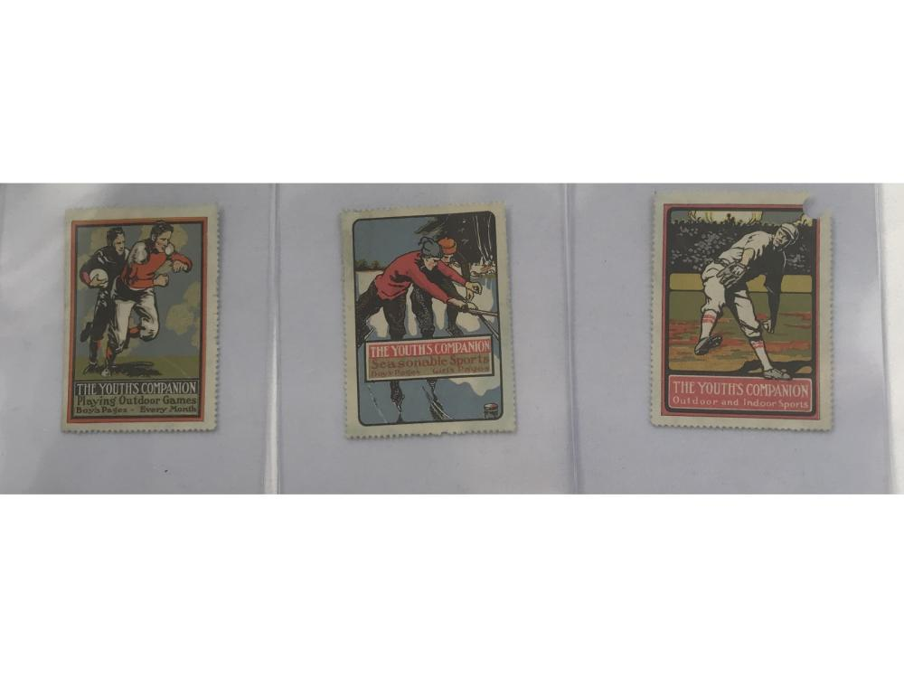 3 Youth Companion Stamps Babe Ruth