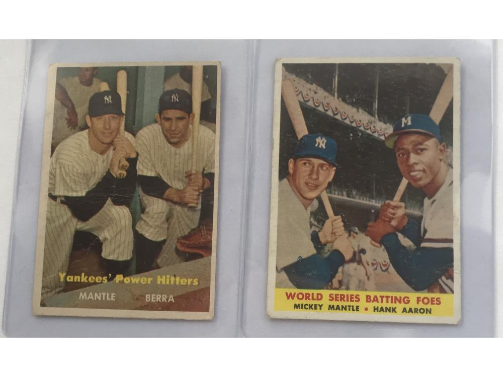 Pair Of Mickey Mantle Cards 1957/58