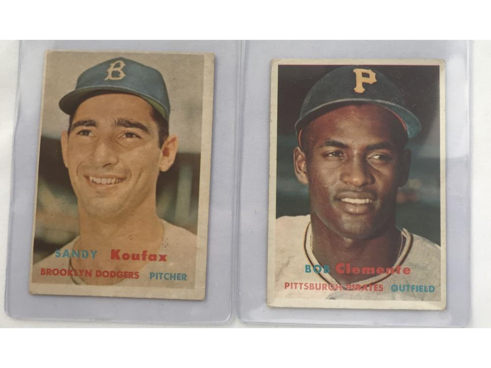Two 1957 Topps Cards Clemente/koufax
